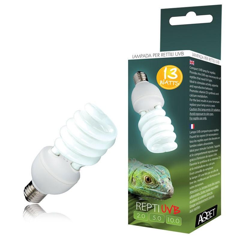 Aqpet lampada uvb uva 10 0 10 repti uvb glo compact for Lampada raggi uvb per tartarughe